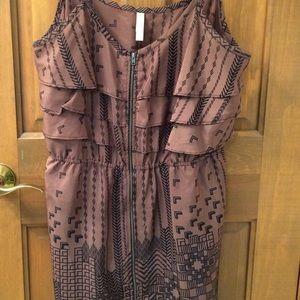 Brown silky printed beach dress